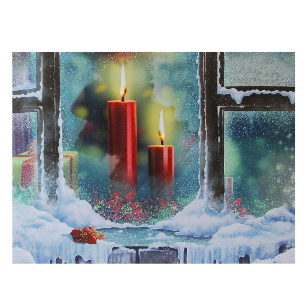 Northlight 12 In X 15 75 In Led Lighted Snowy Window Pane And Candles Christmas Canvas Wall Art Red Candles Wallpaper Red Candles Snowy Window