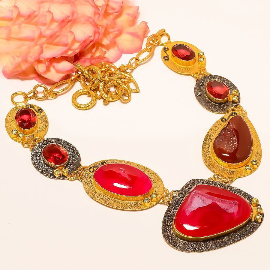 """Botswana Agate Druzy, Rubellite Tourmaline Gold Plated Handmade Necklace 16-17.99""""Long With Adjustable Links. Side Stones Rubellite Tourmaline. Style Choker. Main Stone Agate Druzy. Product Necklace. 