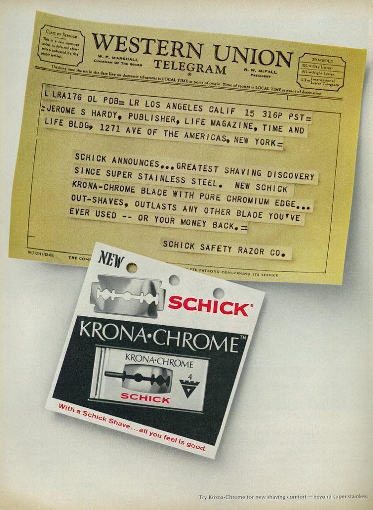 1968 Ad, Schick Krona-Chrome Razor Blades,
