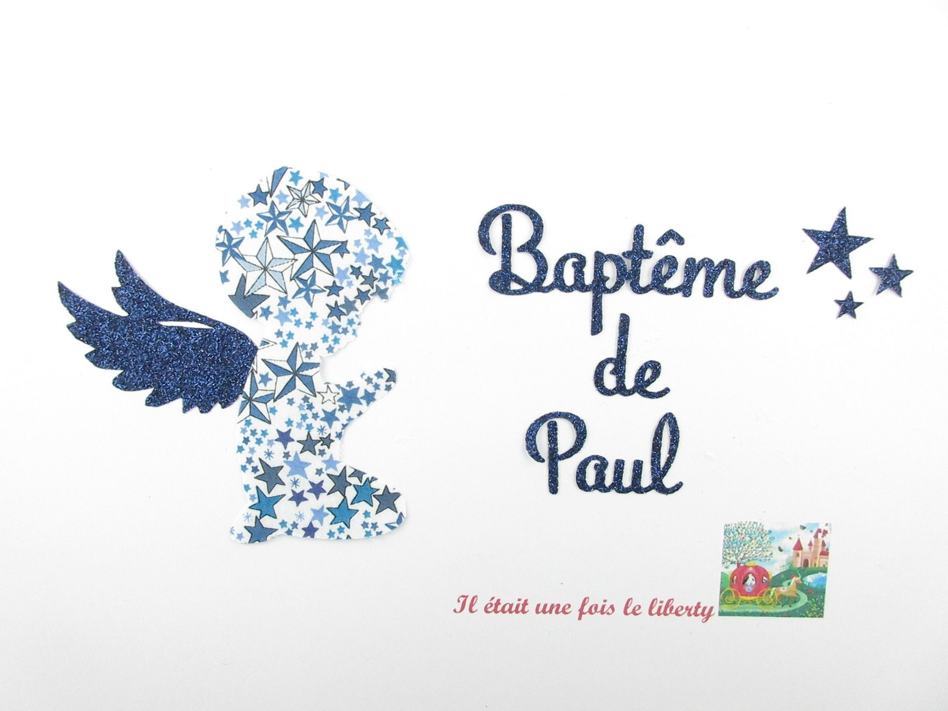 """Häufig Appliqués thermocollants Baptême """"Petit ange et prénom  SJ54"""