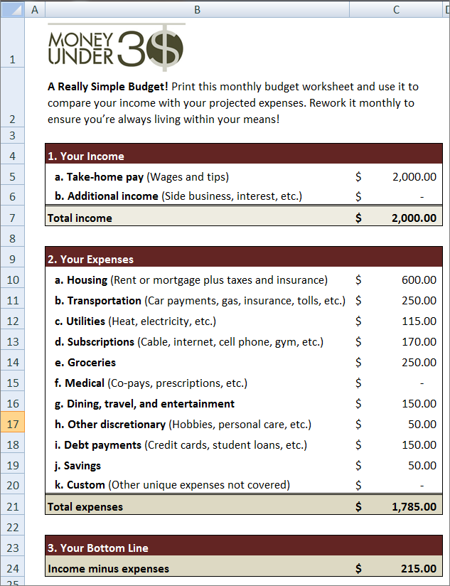 simple monthly budget calculator