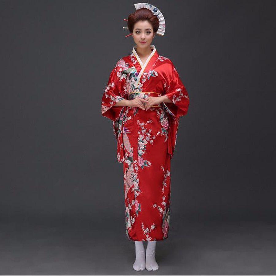Black peafowl Japanese Kimono Women\'s Polyester Satin Kimono Yukata ...