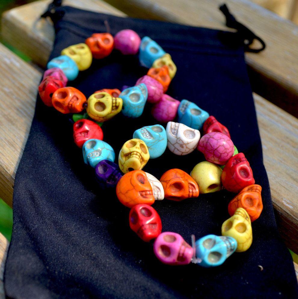 Bracelet // Stretchy Skull Bracelet // Stone Skull Bracelet // Day of the Dead Bracelet by TheMexicanGringo on Etsy