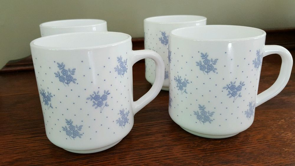 Set of 4 ARCOPAL FRANCE China Blue Coffee Cup Milk Glass Blue Floral ...
