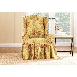 Waverly By Sure Fit Ballad Bouquet Wing Chair T Cushion Slipcover Tea Stain Hk Carter Slipcovers For Chairs Dining Room Chair Slipcovers Dining Chair Slipcovers