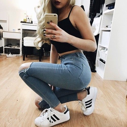 High Waisted Jeans, Cropped Tank Top, and Adidas Original.
