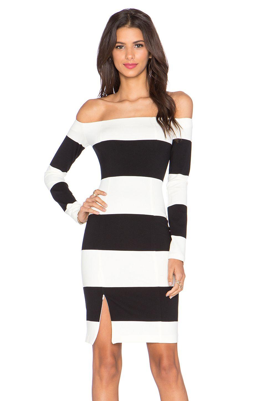 Nicholas Orchard Stripe Off Shoulder Long Sleeve Dress In Off White Black At Revolveclothing Vestidos [ 1450 x 960 Pixel ]