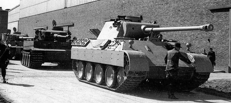 A Panther and two Tigers at the Henschel Factory awaiting shipment to the front -- probably in the East.