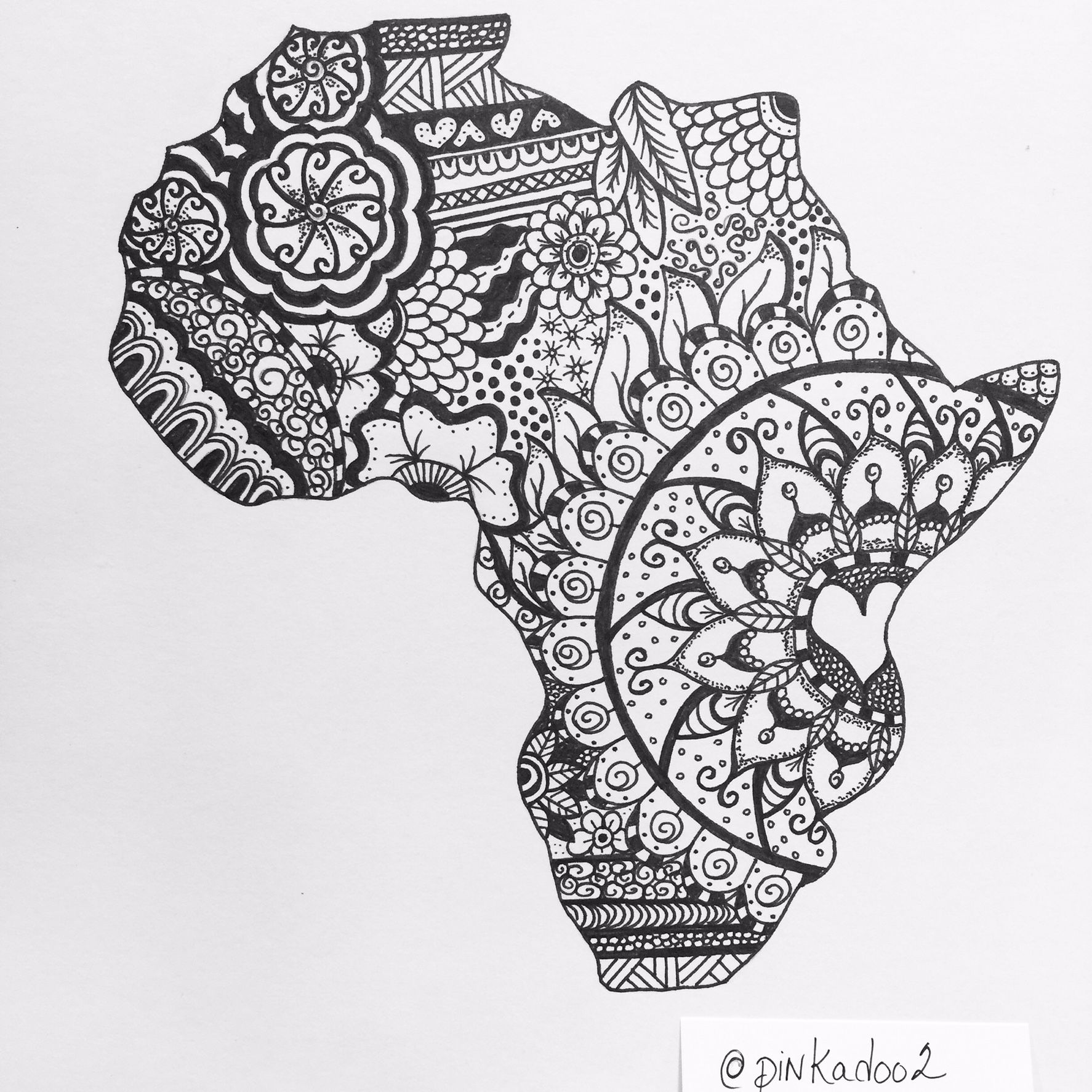 zentangle of Africa by pinkadoo | Africa tattoos, African ...