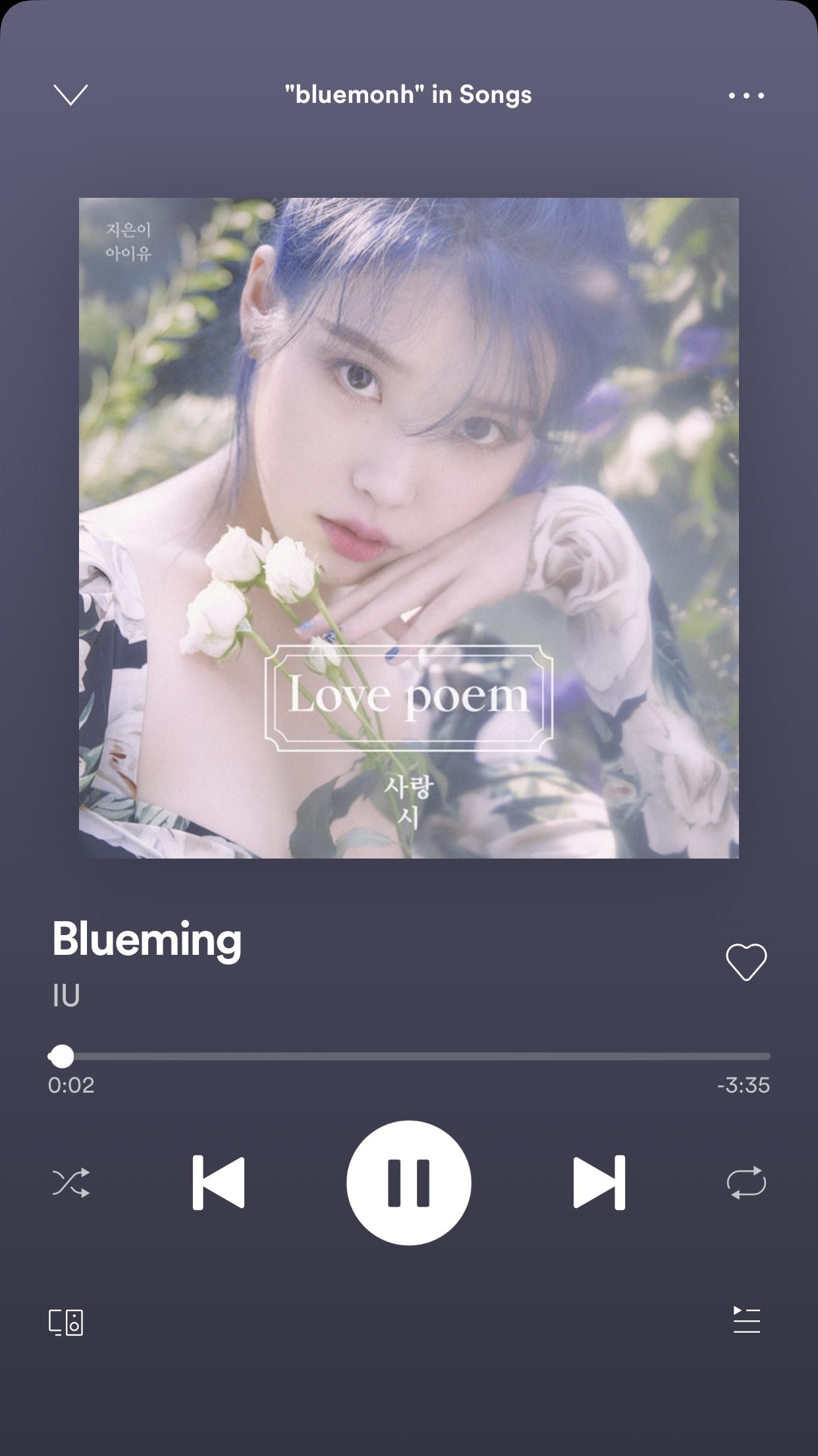 Blueming   IU   Fondo de pantalla musical, Reproductor de música ...