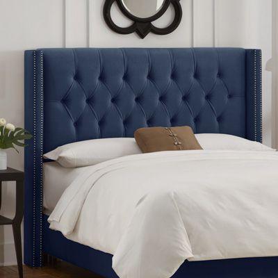 skyline nail button tufted wingback headboard velvet navy velvet bed frame headboard meijer