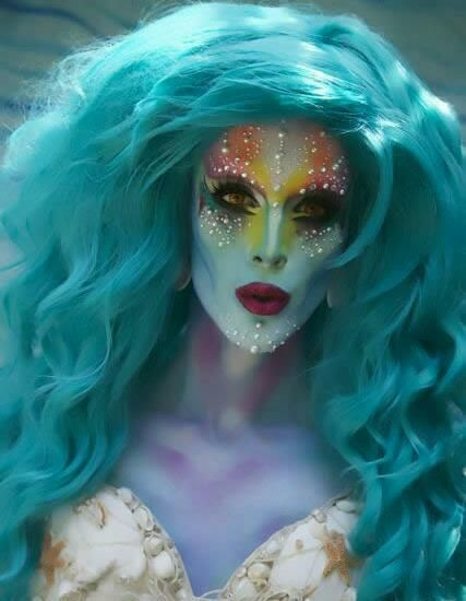 mermaid full face makeup- she is actually a bit scary lookin so if toned down it Wouk be awesome
