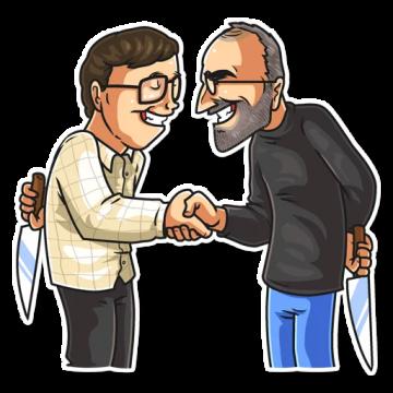 Steve Jobs Vs Bill Gates Competition Konkurenciya Sticker Set Steve Jobs Stickers