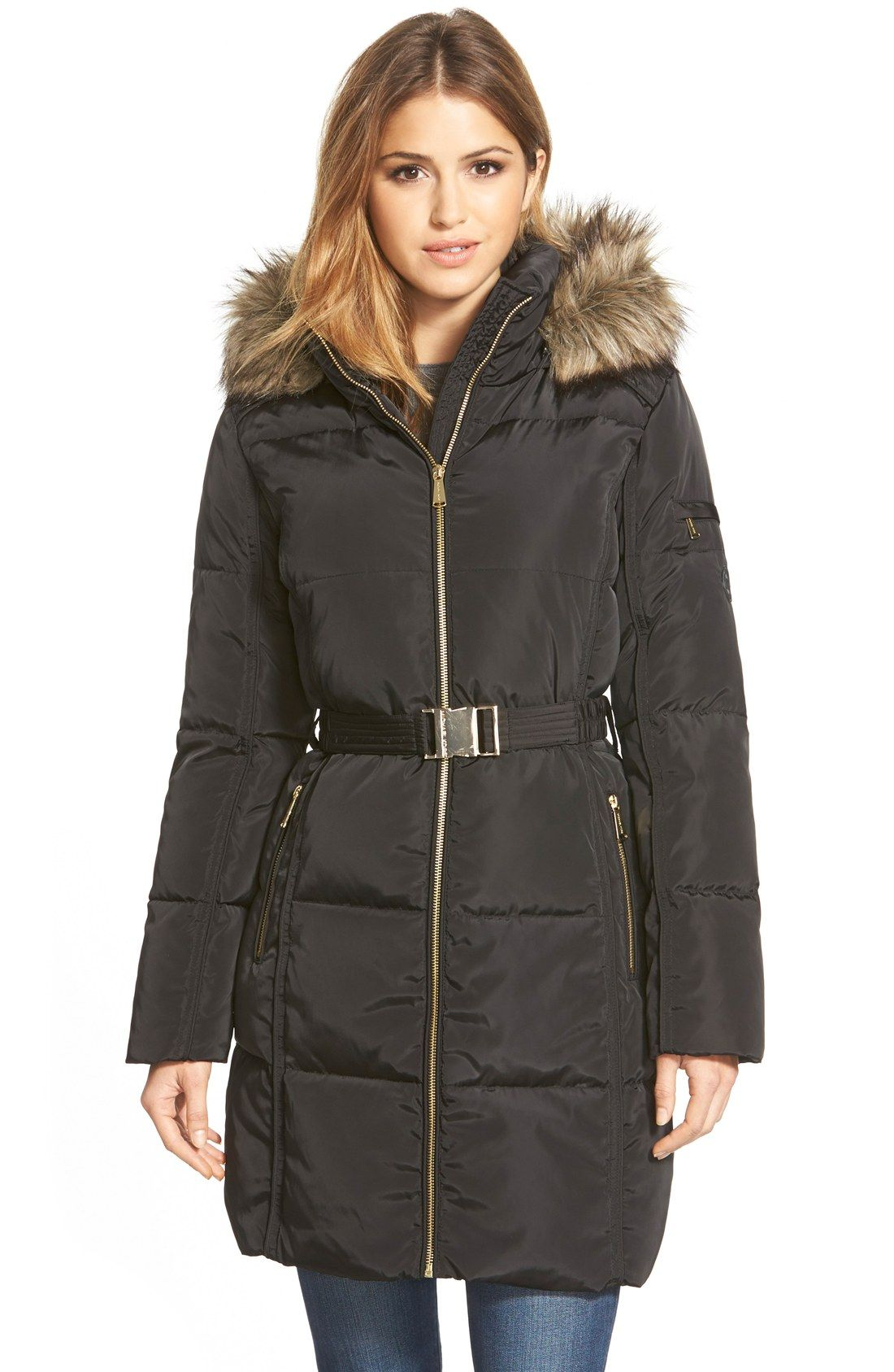 MICHAEL Michael Kors Faux Fur Trim Belted Down & Feather Fill ...