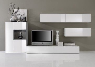 Modern Wall Unit Tv Media Entertainment Center Jetset 304 2 950 00 Modern White Cabinets On Greige Wall Modern Wall Units Entertainment Center Wall Unit