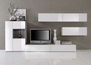 Modern Wall Unit Tv Media Entertainment Center Jetset 304 2 950 00 Modern White Cabinets On Greige Wall Modern Wall Units Wall Unit Entertainment Center