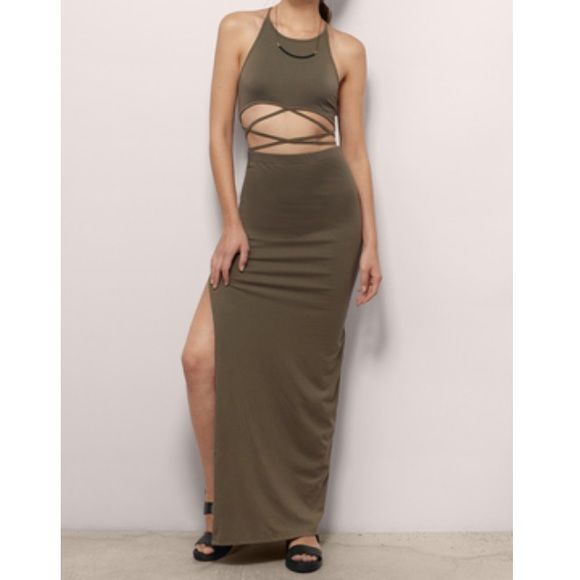 2c127b781f Tobi Formal dress Olive long dress with cutouts and slit on the side ...