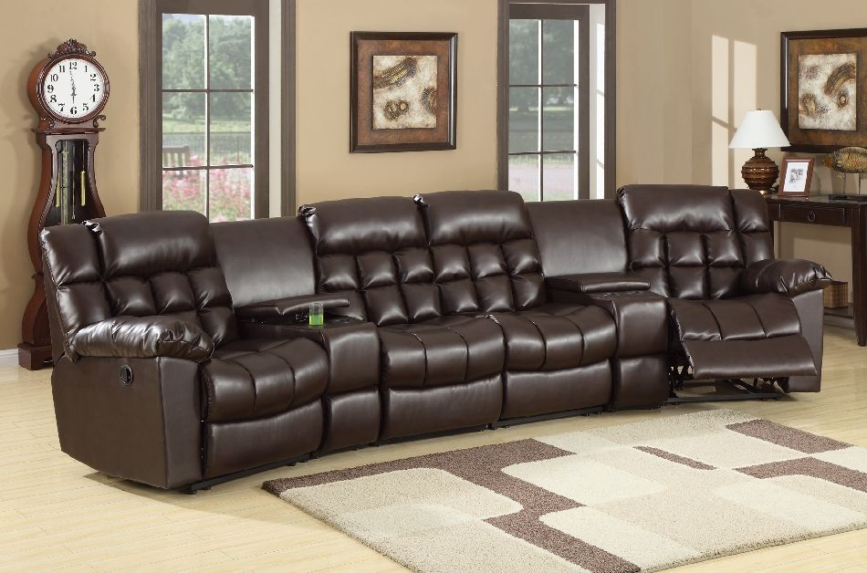 Coaster Natalie 6 Piece Reclining Home Theater Seating in Brown Leather : theater seating sectional - Sectionals, Sofas & Couches