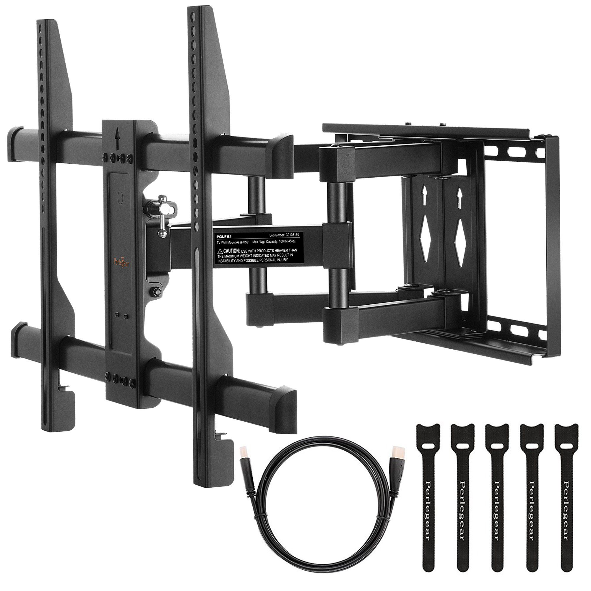 Perlegear Full Motion Tv Wall Mount Bracket With Dual Articulating