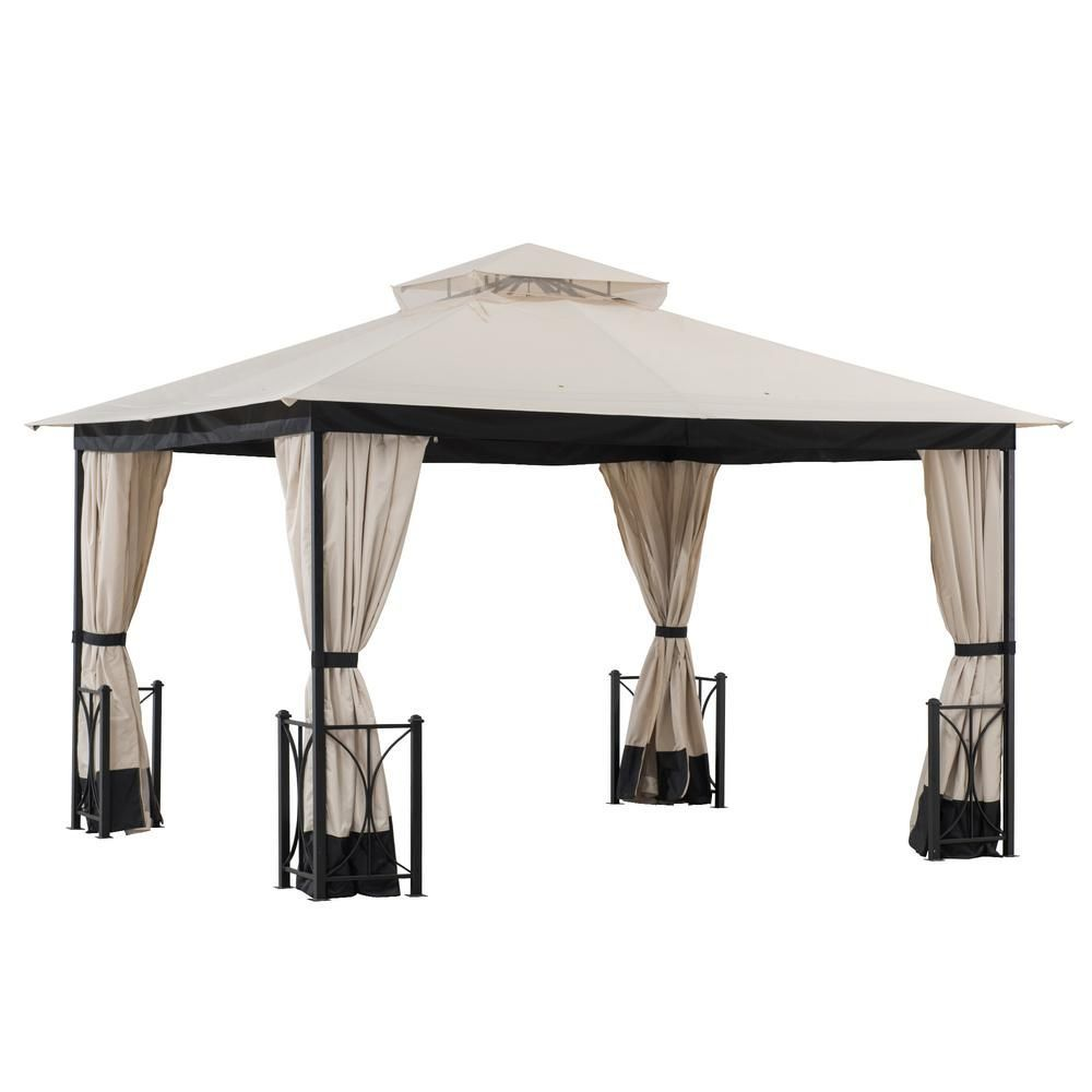 Sunjoy Delaware 10 Ft X 12 Ft Beige And Black St In 2020 Steel Gazebo Gazebo Gazebo Roof