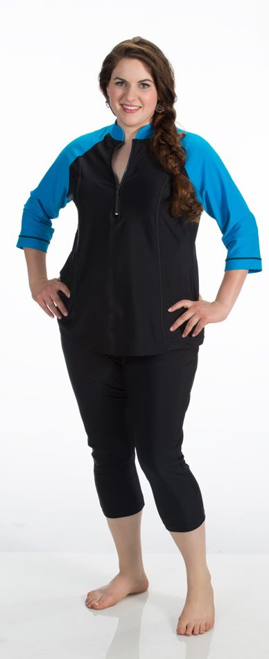 edc52ad9cb Plus size swim shirt will zipper collar. Flattering fit with a pair of swim  capris.