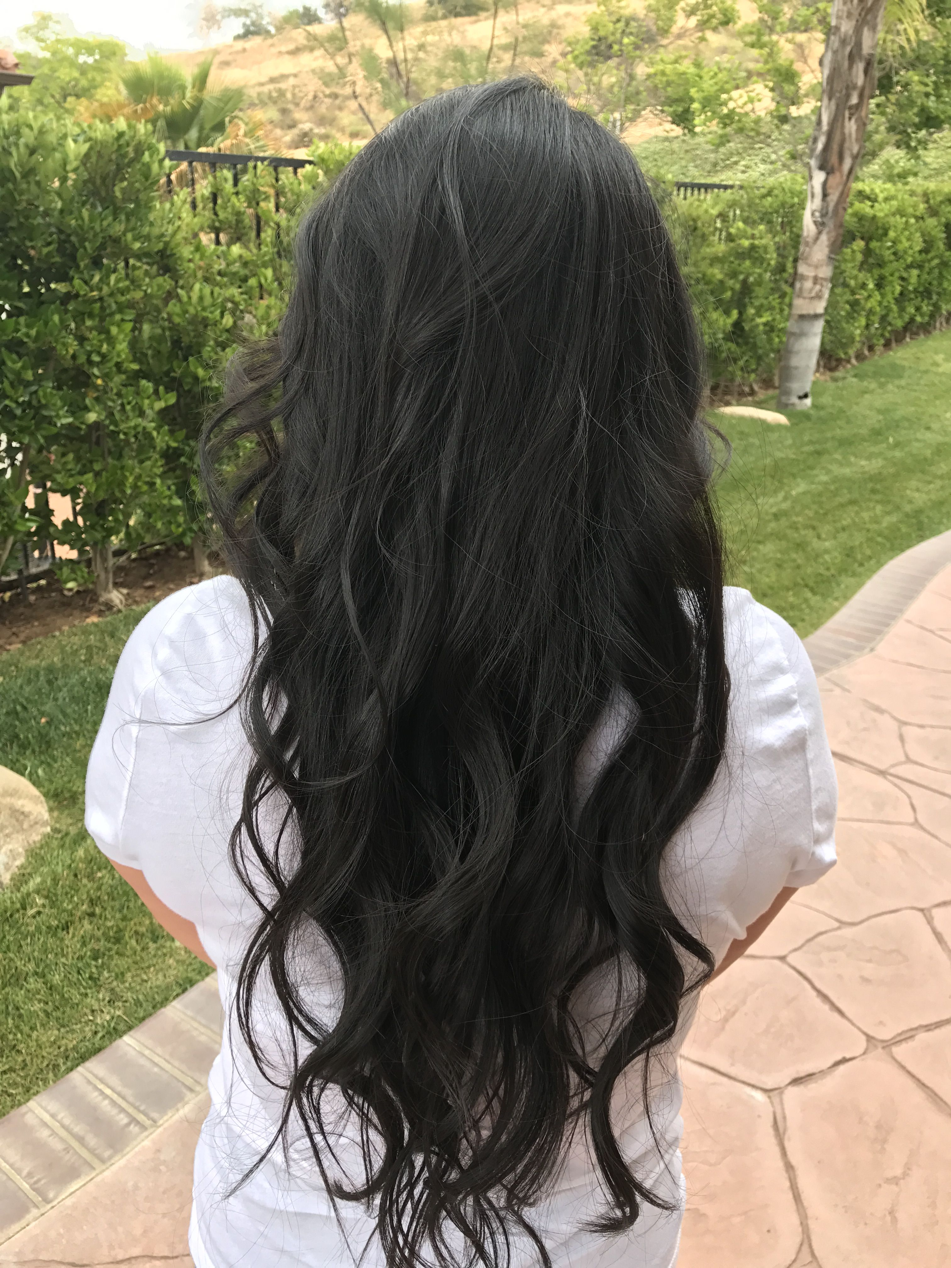 Long Dark Wavy Loose Curls Layered Long Layered Hair Loose