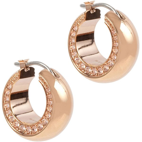 DKNY Rose Gold Plated Crystal Hoop Earrings found on Polyvore