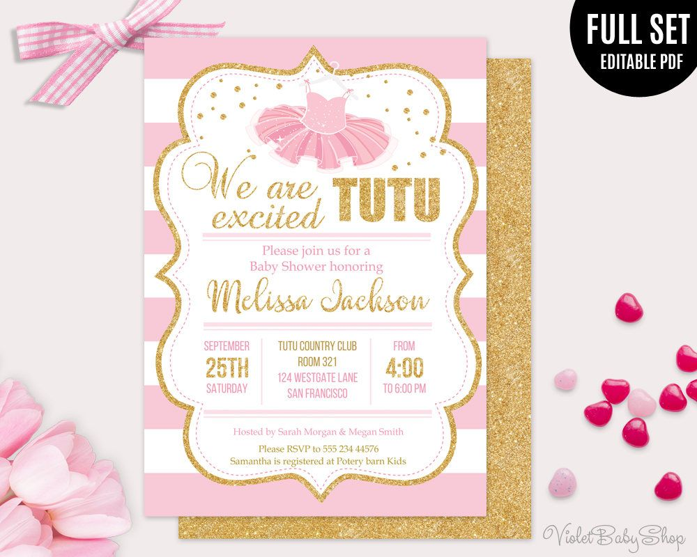 Tutu Excited Baby Shower Template Printable Girl Baby Shower Invitation Gold Baby Shower Invitations Ballerina Baby Shower Invitations Baby Shower Invitations
