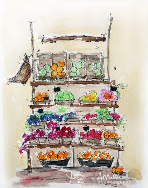the roma market   an original watercolor print by YesandAmenStudio, $25.00