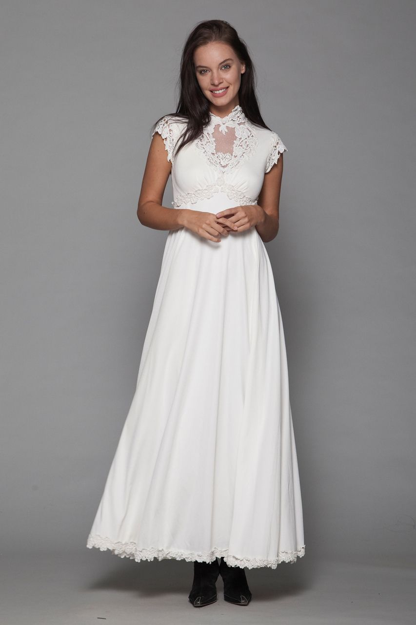 boho bride bohemian wedding dress maxi gown empire lace