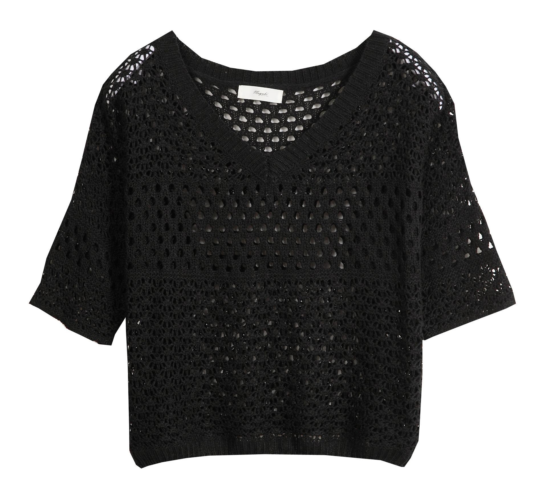 Mayuki-Womens-3-4-Sleeve-V-Neck-Crochet-Blouse-Knitwear-Japanese-Korean-Fashion