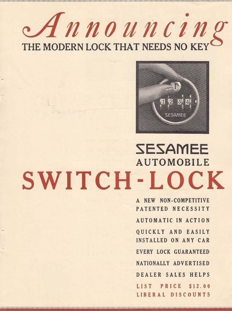 1928 Sesamee Co Hartford Ct Ad Sesamee Automobile Switch Lock Needs No Key Ads Hartford Switch