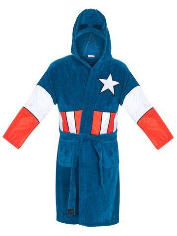 03530fd225 Marvel Universe Captain America Mens Fleece Bathrobe