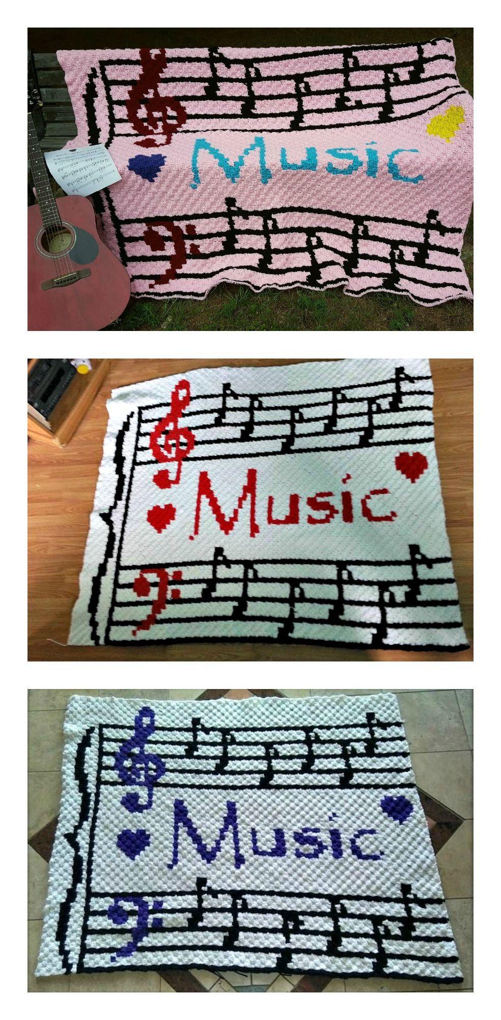 Musical Notes Afghan Musical Notes Afghan C2c Crochet Pattern Makes