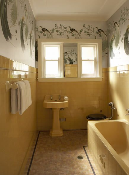 1940s yellow tiled bathroom by Greg Natale Design