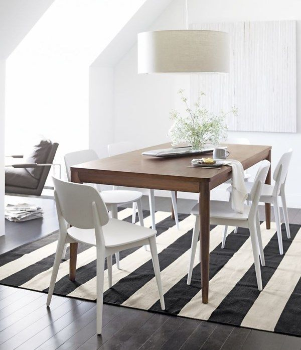 What Patterned Rugs Can Teach Us About Summer Decor Striped RugStriped TableWhite ChairsCrate And BarrelBarrel