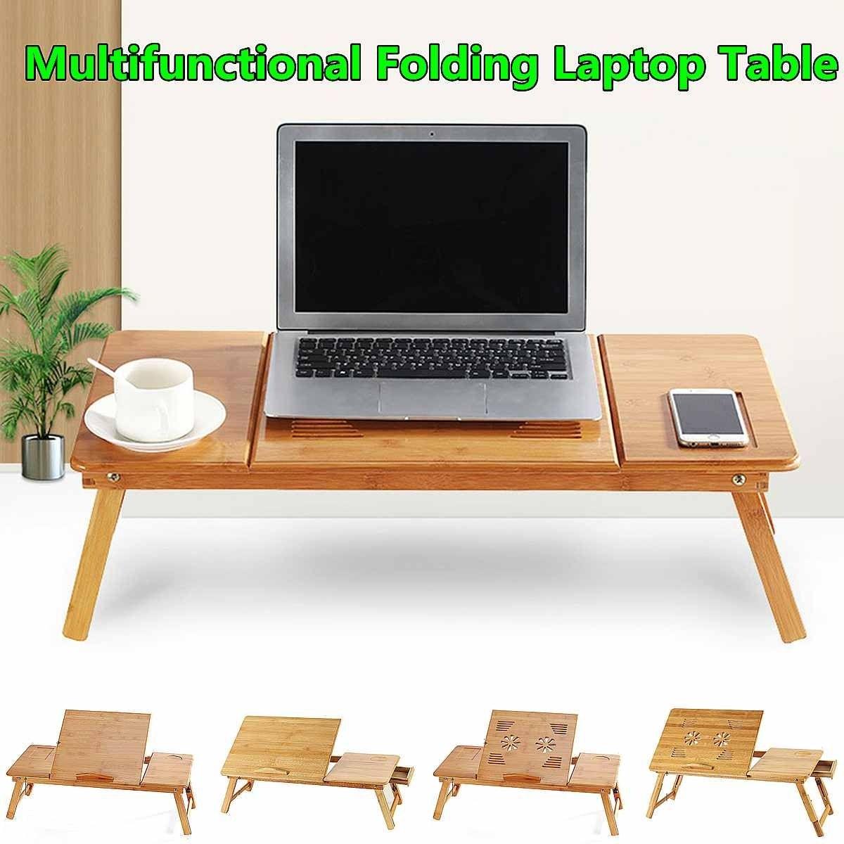 Portable Folding Bamboo Laptop Table, Portable Folding Computer Desk Laptop Table Workstation Furniture