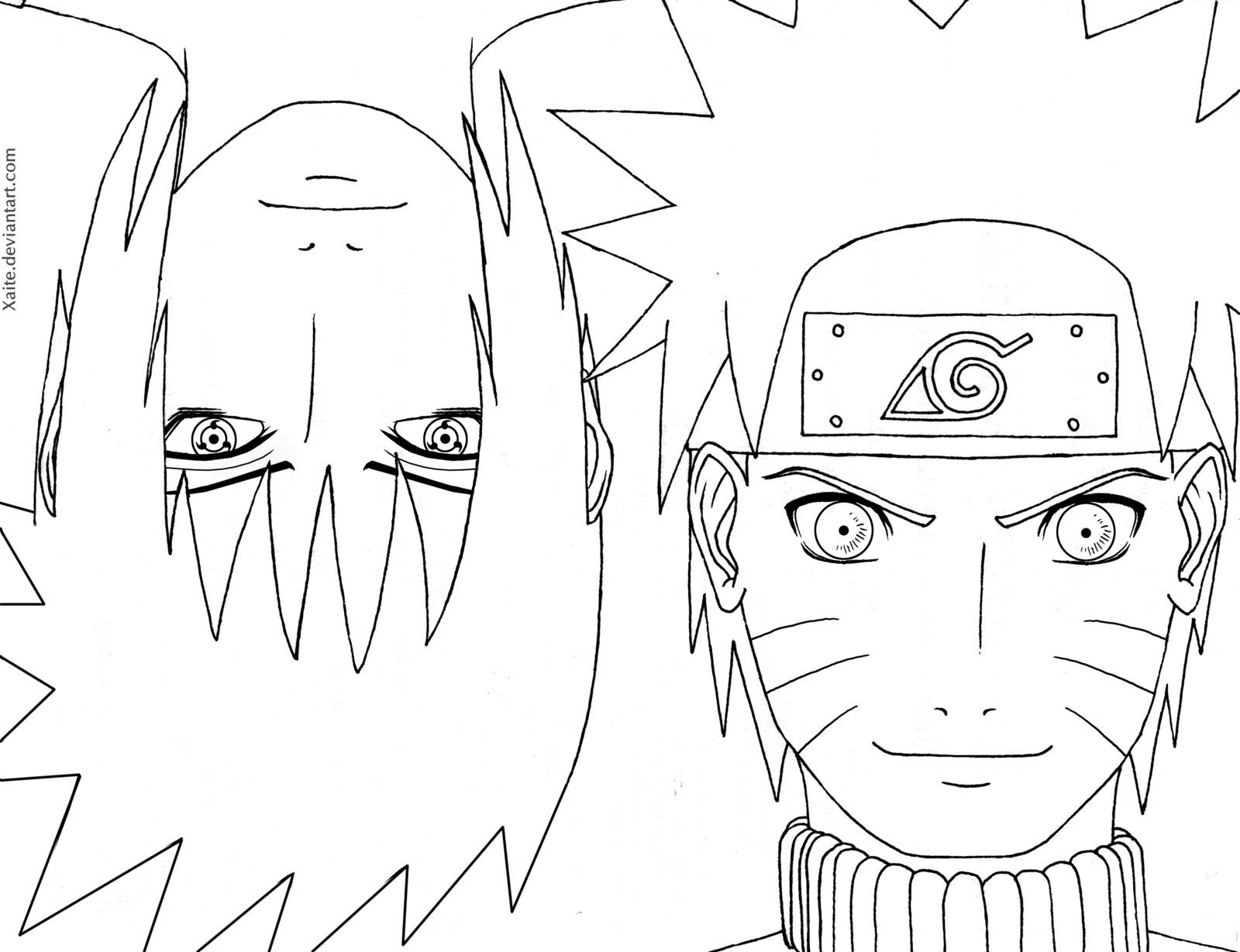 How To Draw Sasuke And Naruto Line Art Naruto Naruto