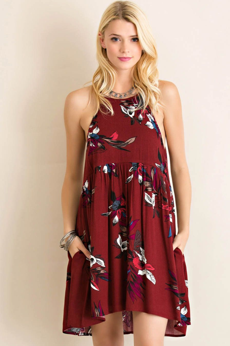 Floral Print Halter Babydoll Dress – Classic Paper Doll