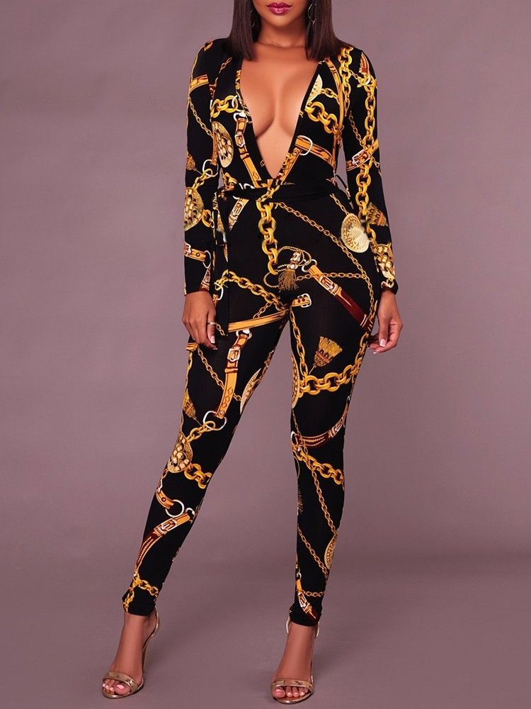 86a2805e8ad Sexy Deep V Neck Gold Chain Print Skinny Jumpsuit