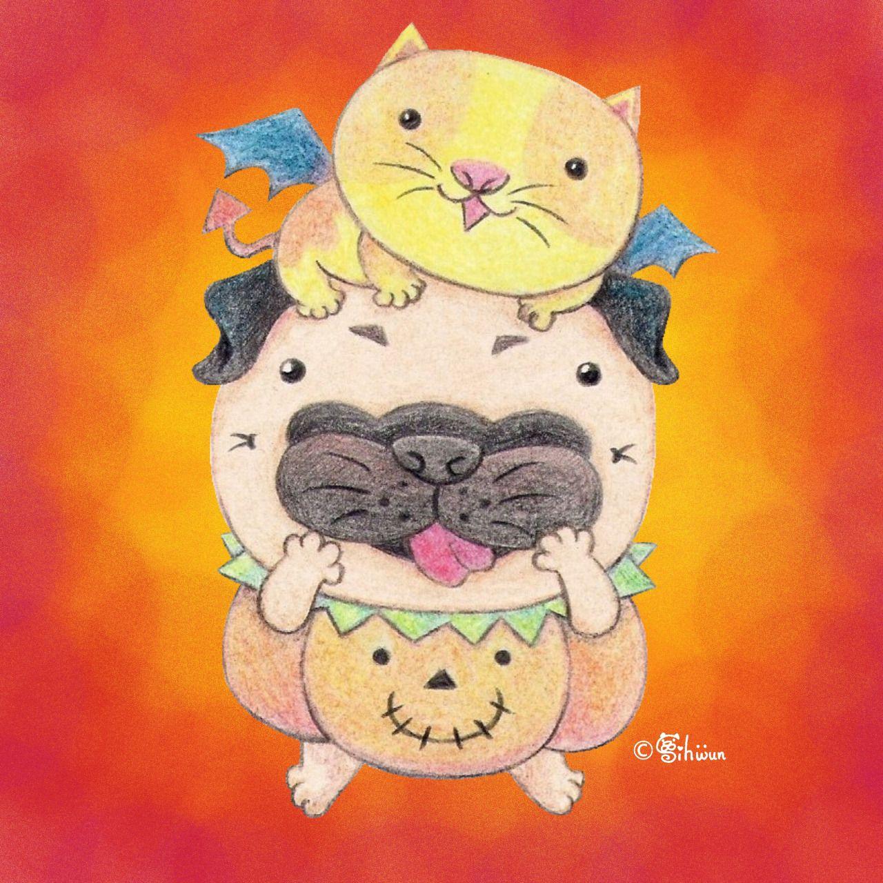 Joy's Pug World — Pumpkin pug and devil cat.
