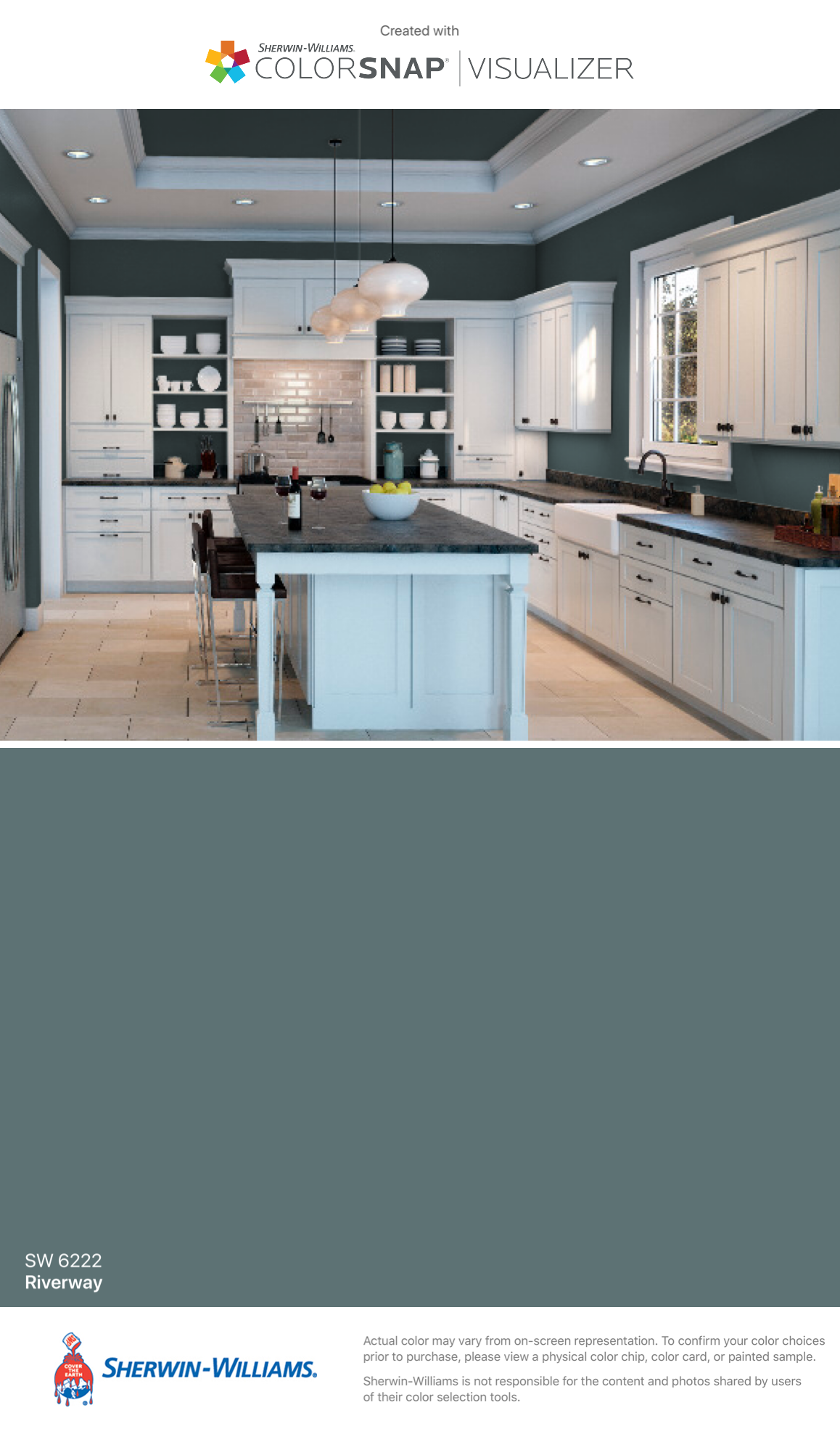 I Found This Color With Colorsnap Visualizer For Iphone By Sherwin Williams Riverway Sw 6222 Kitchen Paint Painting Kitchen Cabinets Kitchen Cabinet Colors