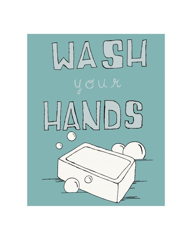 Bathroom Signs Wash Your Hands bathroom art print, bathroom decor, bathroom sign, wash your hands