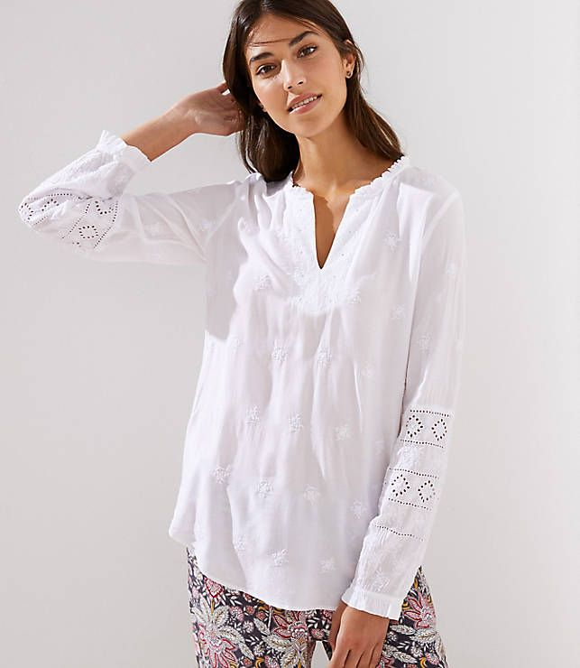 504877e789f LOFT Embroidered Eyelet Split Sleeve Blouse in 2019 | Spring Clothes ...