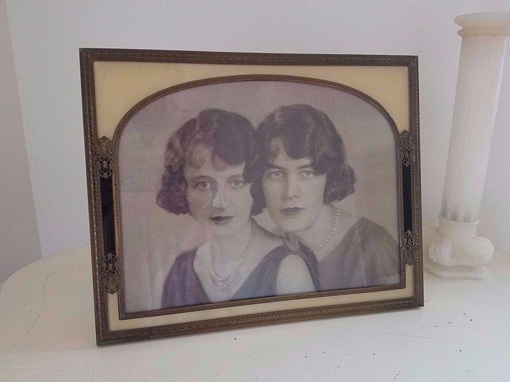 Large Vtg Antique Gold ORMOLU Reverse Painted Picture Frame Velvet ...