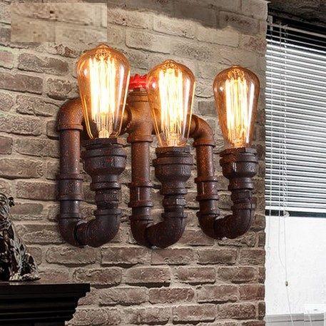 loft style industriel lampe de tuyau d 39 eau edison applique murale fer art vintage mur luminaires. Black Bedroom Furniture Sets. Home Design Ideas