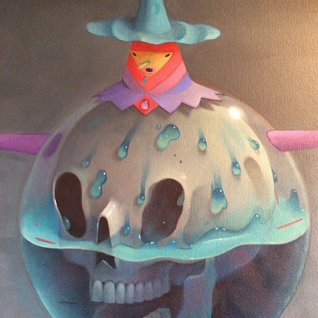 Commission coming along.  Skull bubble boy. #wip #oilpainting #wet #phew by skeletonslime
