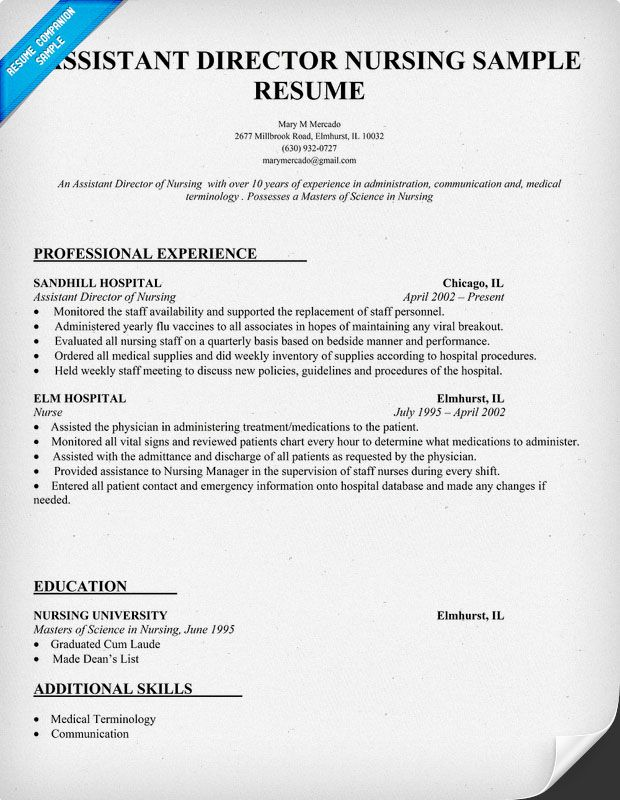 Assistant Director Nursing Resume Template (resumecompanion - nurse resume samples