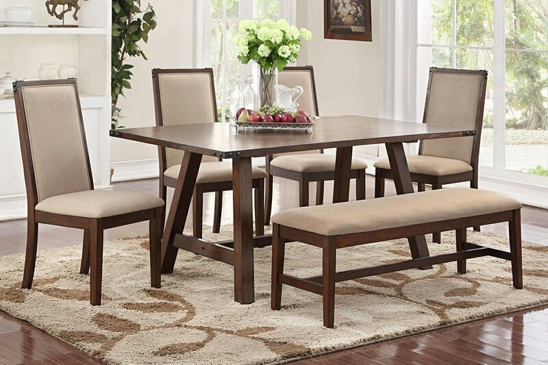6 Pc Clive Collection Distressed Antique Dark Wood Finish Dining Delectable Dining Room Table Measurements Design Ideas