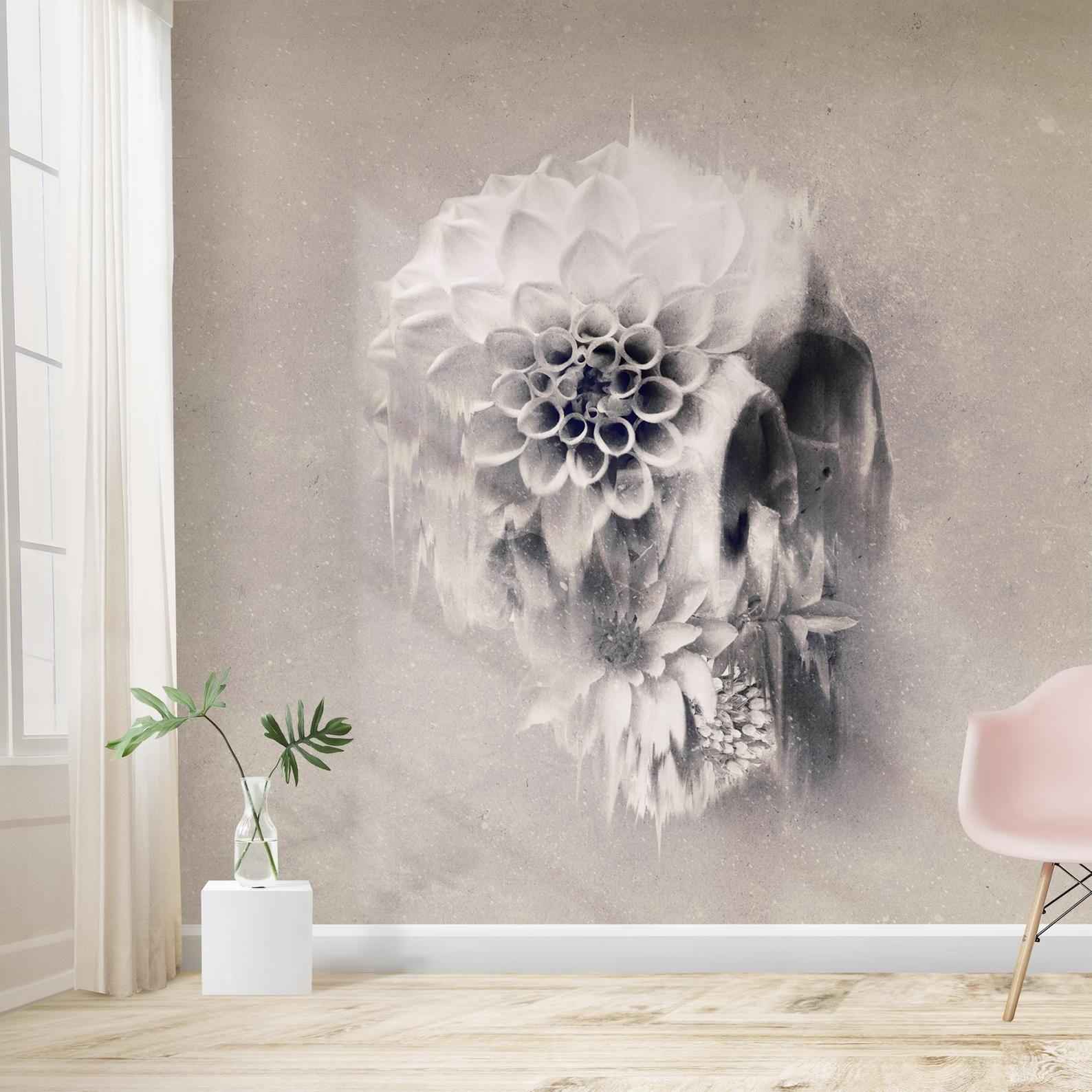 Flower Skull Wallpaper Home Decor Light Floral Skull Art Print
